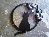 おしゃれで人気のロートアイアン風アルミ製猫+モンステラ+プルメリア妻飾り