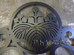 152:アルミ製丸に五七桐家紋妻飾り