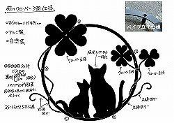 294:猫+クローバー+唐草妻飾り