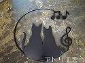 413:猫2匹音符ト音記号妻飾り