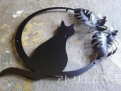 No426:猫+モンステラ+プルメリアステンレス製妻飾り