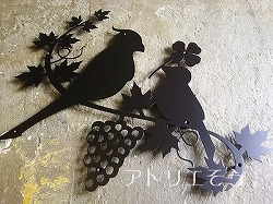 No434:小鳥+ぶどうステンレス製妻飾り