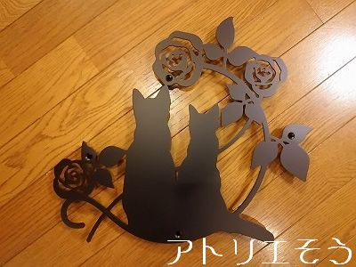 猫+薔薇妻飾り。ステンレス製妻飾り。
